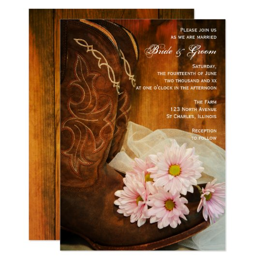 Pink Daisies Cowboy Boots Country Western Wedding Card