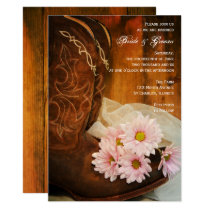 Pink Daisies Cowboy Boots Country Western Wedding Invitation