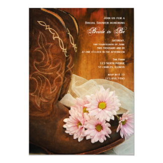 Pink Daisies Cowboy Boots Western Bridal Shower 5x7 Paper Invitation Card