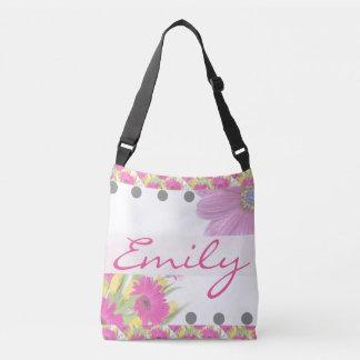 Pink Daisies Floral Flower Name Custom Tote Bag
