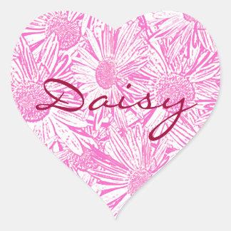 Pink Daisies Heart Sticker