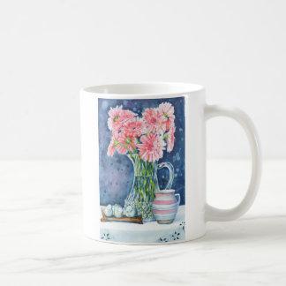 Pink Daisies in Crystal Mug