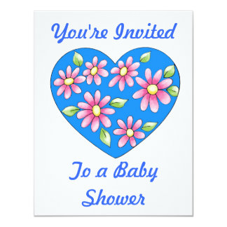 Pink Daisies on a Blue Heart Shower Invitation