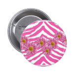 PINK DAISIES ON ZEBRA PRINT BUTTON
