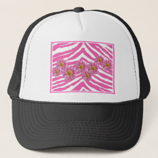 PINK DAISIES ON ZEBRA PRINT TRUCKER HAT