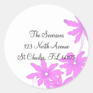 Pink Daisies Return Address Classic Round Sticker