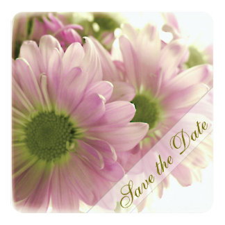 """Pink Daisies Save the Date 5.25"""" Square Invitation Card"""