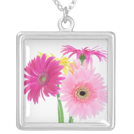 Pink Daisies Silver Plated Necklace