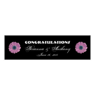 Pink Daisies Wedding or Engagement Banner Print
