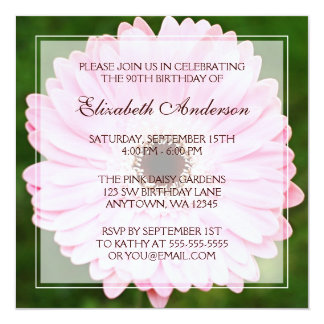 Pink Daisy 90th Birthday Party Card