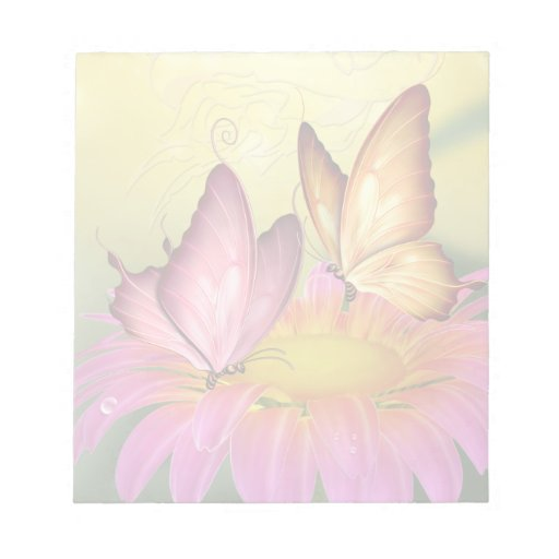 Pink Daisy and Butterflies Notepad
