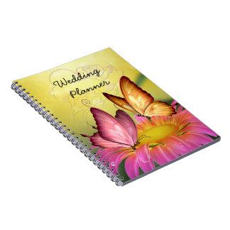 Pink Daisy and Butterflies Wedding Planner Spiral Notebook