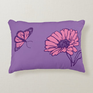 Pink daisy and butterfly pillow