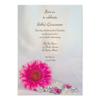 "Pink Daisy and Buttons Quinceañera Party Invite 5"" X 7"" Invitation Card"