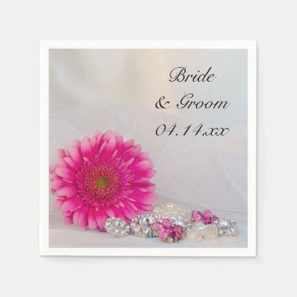 Pink Daisy and Buttons Wedding Paper Napkins