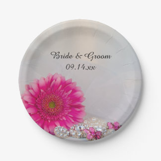 Pink Daisy and Buttons Wedding Paper Plate