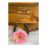Pink Daisy and Horseshoe Country Bridal Shower Invitation