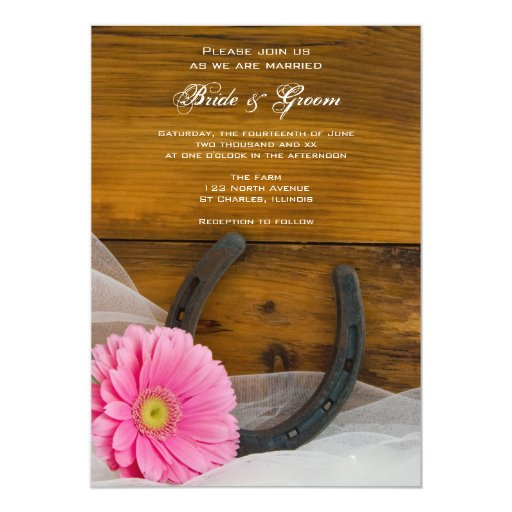 Pink Daisy and Horseshoe Country Wedding Card