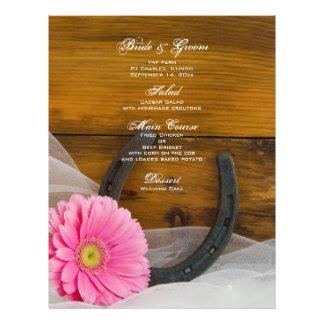 Pink Daisy and Horseshoe Country Wedding Menu Custom Flyer