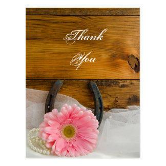 Pink Daisy and Horseshoe Country Wedding Thank You Postcard