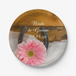 Pink Daisy and Horseshoe Country Western Wedding Paper Plate