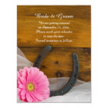 Pink Daisy and Horseshoe Wedding Save the Date Magnetic Card
