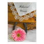 Pink Daisy and Lace Country Rehearsal Dinner Card