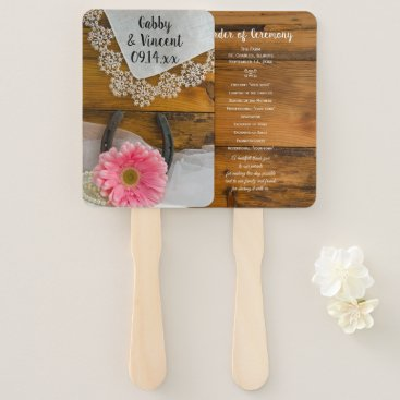 Wedding Themed Pink Daisy and Lace Country Western Wedding Hand Fan