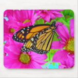 Pink daisy and Monarch butterfly mousepad