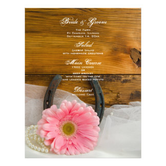 Pink Daisy and Pearls Country Wedding Menu Custom Flyer