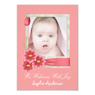 Pink Daisy Baby Girl Photo Birth Announcement