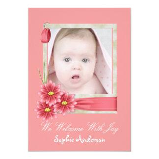 Pink Daisy Baby Girl Photo Birth Announcement