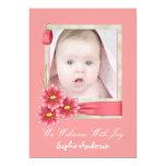 "Pink Daisy Baby Girl Photo Birth Announcement 5"" X 7"" Invitation Card"