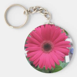 Pink Daisy Basic Round Button Keychain