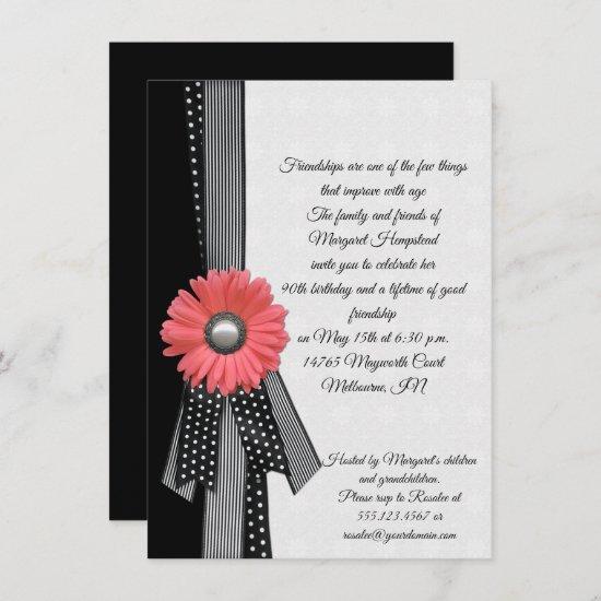 Pink Daisy Black and White Polka Dots Birthday Invitation