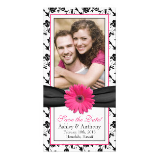 Pink Daisy Black Floral Ribbon Wedding Save Date Photo Card