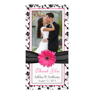 Pink Daisy Black Floral Ribbon Wedding Thank You Card