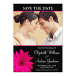 Pink Daisy Black Photo Save the Date 5x7 Paper Invitation Card
