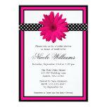Pink Daisy Black Polka Dots Bridal Shower 5x7 Paper Invitation Card