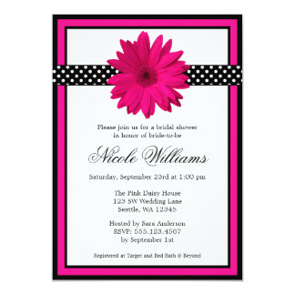 Pink Daisy Black Polka Dots Bridal Shower Card