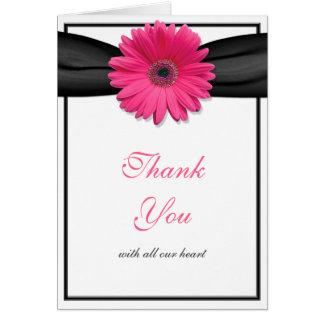 Pink Daisy Black Ribbon Wedding Thank You Card