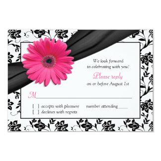 Pink Daisy Black White Floral Damask Wedding RSVP 3.5x5 Paper Invitation Card