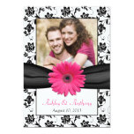 Pink Daisy Black White Floral Photo Save the Date Custom Invitations