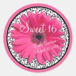 Pink Daisy Black White Floral Sweet 16 Birthday Round Sticker
