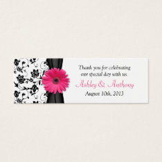 Pink Daisy Black White Floral Wedding Favor Tags at Zazzle
