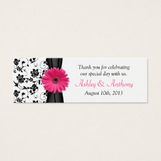 Pink Daisy Black White Floral Wedding Favor Tags