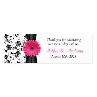 Pink Daisy Black White Floral Wedding Favor Tags Double-Sided Mini Business Cards (Pack Of 20)