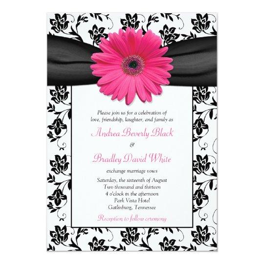 Hot Pink Gerbera Daisy White Wedding Invitation 5 X 7: Pink Daisy Black White Floral Wedding Invitation