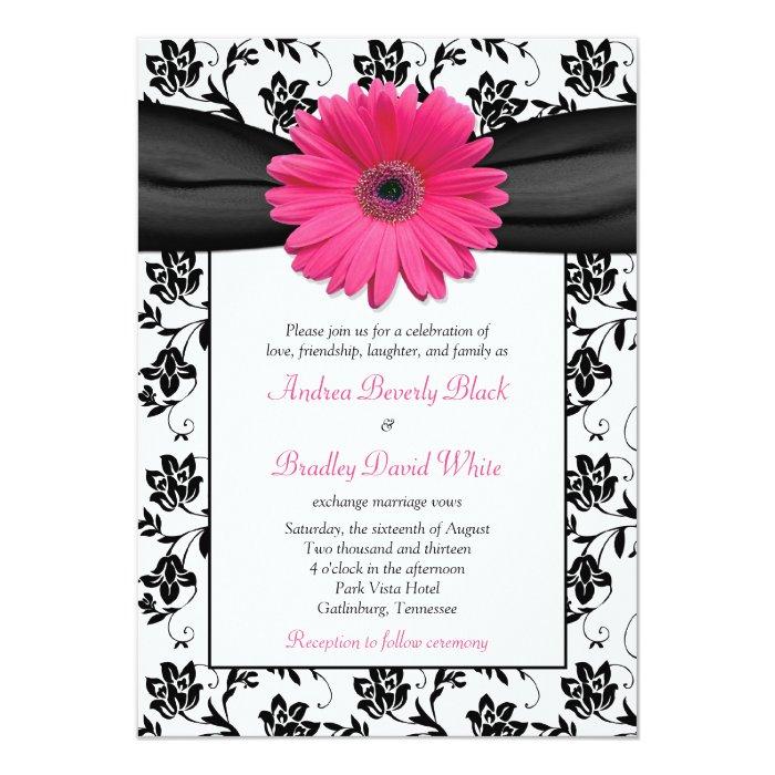 White Black Gold Daisy Wedding Invitation: Pink Daisy Black White Floral Wedding Invitation