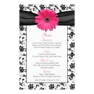 Pink Daisy Black White Floral Wedding Menu Card